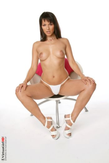 Hot Desktop Stripper With Puffy Nipples